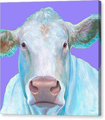Charolais Cow Painting On Purple Background Canvas Print