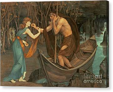 Charon And Psyche Canvas Print by John Roddam Spencer Stanhope