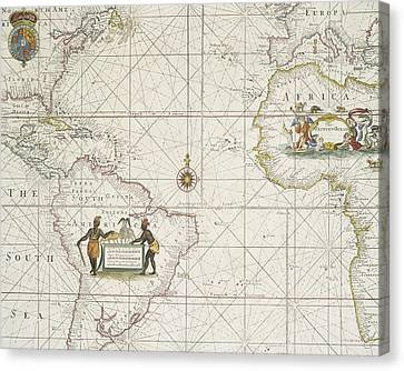Chart Of The Atlantic Ocean Canvas Print by English School