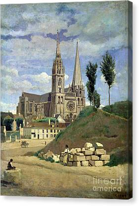 Chartres Cathedral Canvas Print by Jean Baptiste Camille Corot