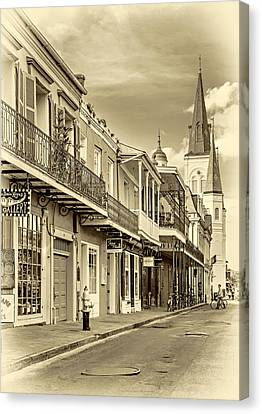 Wrought Iron Bicycle Canvas Print - Chartres St In The French Quarter 2 - Sepia by Steve Harrington