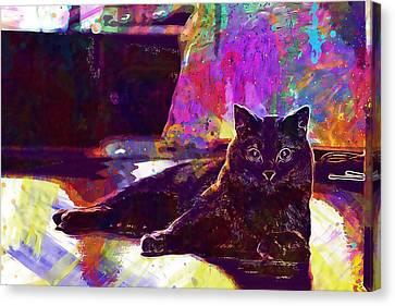 Canvas Print featuring the digital art Chartreux Cat Animals Pet Mieze  by PixBreak Art