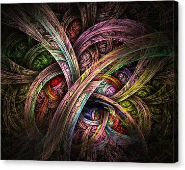 Canvas Print featuring the digital art Chasing Colors - Fractal Art by NirvanaBlues