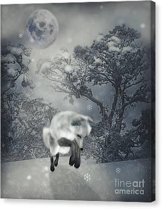Snowy Night Night Canvas Print - Chasing Snowflakes by KaFra Art