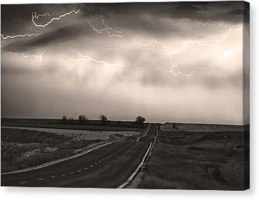 Chasing The Storm - County Rd 95 And Highway 52 - Co- Sepia Canvas Print by James BO  Insogna