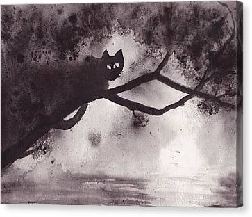 Canvas Print featuring the painting Chat Dans L'arbre by Marc Philippe Joly