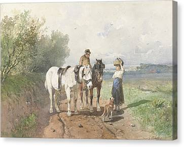 Chat On A Country Road Canvas Print by Anton Mauve
