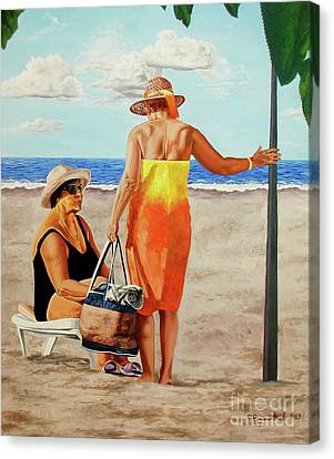 Chat On The Beach - Chat En La Playa Canvas Print