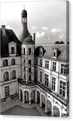 Historic Architecture Canvas Print - Chateau De Chambord Courtyard And Staircase  by Olivier Le Queinec