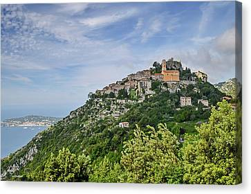 Canvas Print featuring the photograph Chateau D'eze On The Road To Monaco by Allen Sheffield