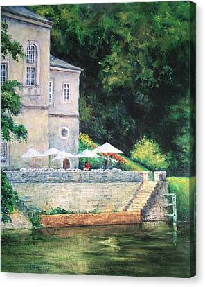 Chateau On The Lot River Canvas Print