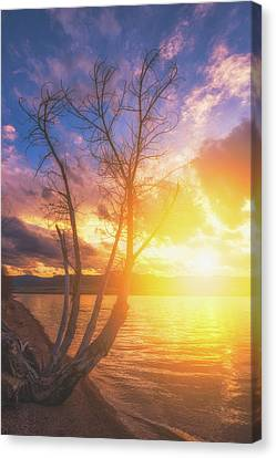 Canvas Print featuring the photograph Chatfield Lake Sunset by Darren White