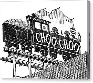 Chattanooga Choo Choo Sign In Black And White Canvas Print by Marian Bell