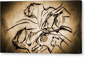 Chauvet Cave Lions Burned Leather Canvas Print