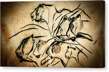 Cave Art Canvas Print - Chauvet Cave Lions by Weston Westmoreland