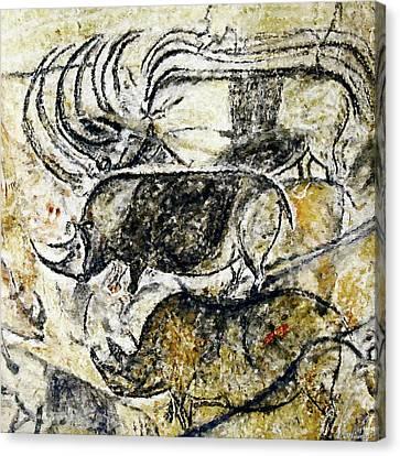 Chauvet Three Rhinoceros Canvas Print