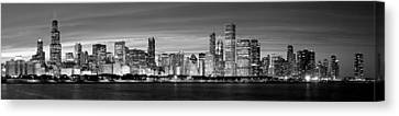 Chciago Skyline In Black And White Canvas Print by Twenty Two North Photography