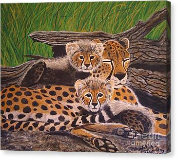 Cheatah And Cubs Painting By Nick Gustafson