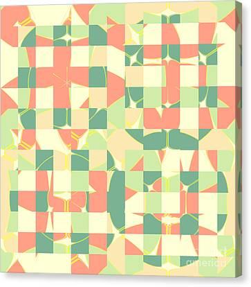 Checkered Green And Salmon Canvas Print by Gaspar Avila