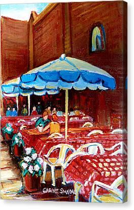 Checkered Tablecloths Canvas Print by Carole Spandau