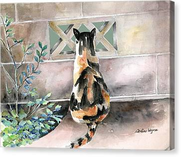 Checking Out The Neighbors Backyard Canvas Print by Arline Wagner