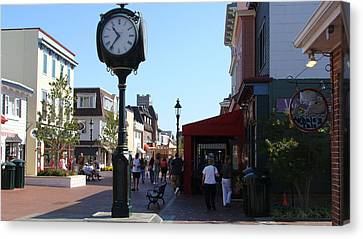 Canvas Print featuring the painting Checking Out The Shops In Cape May by Rod Jellison