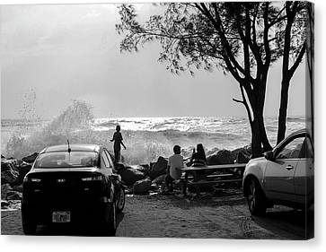 Admiring The View Canvas Print - Checking Out The Waves by Robert Wilder Jr