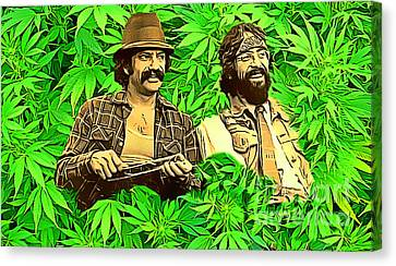 Cheech And Chong In The Garden Of Eden Canvas Print by Pd