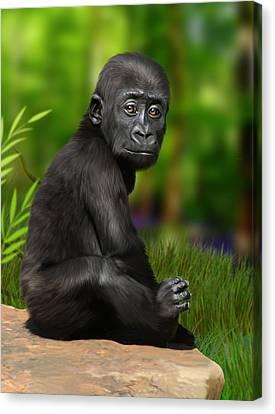 Ape Canvas Print - Cheeky Boy by Julie L Hoddinott