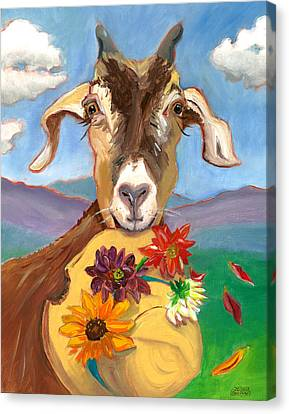 Canvas Print featuring the painting Cheeky Goat by Susan Thomas