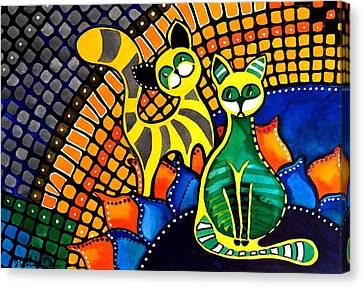 Canvas Print featuring the painting Cheer Up My Friend - Cat Art By Dora Hathazi Mendes by Dora Hathazi Mendes