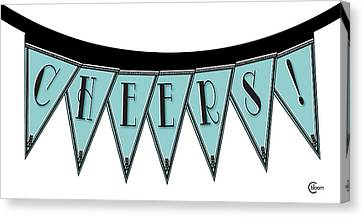 Pennant Deco Blues Streamer Sign Cheers Canvas Print
