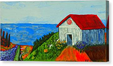 Cheerwine Barn Canvas Print by Angela Annas