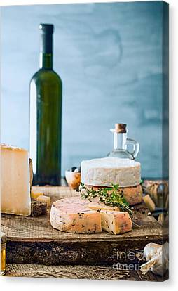 Cheese On Wood Canvas Print by Mythja Photography