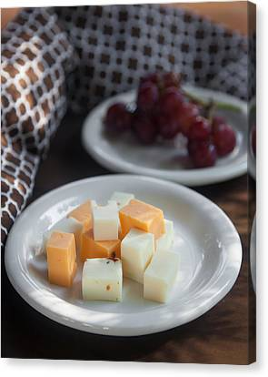 Cheese Plate With Red Seedless Grapes Canvas Print by Erin Cadigan