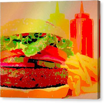Hamburger Canvas Print - Cheeseburger And Fries Pop Art by Dan Sproul