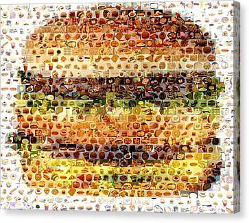 Canvas Print featuring the mixed media Cheeseburger Fast Food Mosaic by Paul Van Scott