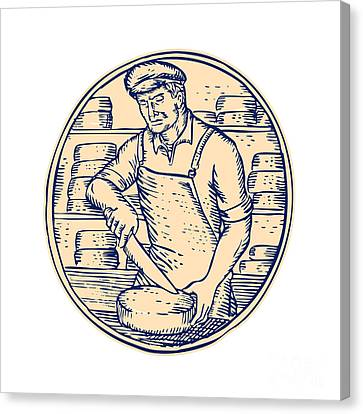 Cheesemaker Cutting Cheddar Cheese Etching Canvas Print by Aloysius Patrimonio