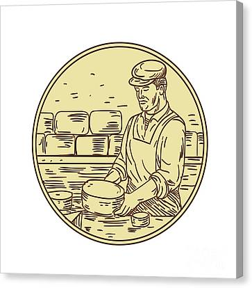 Cheesemaker Making Cheddar Cheese Circle Drawing Canvas Print by Aloysius Patrimonio