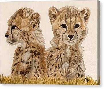 Cheetah Cubs Watercolor Canvas Print