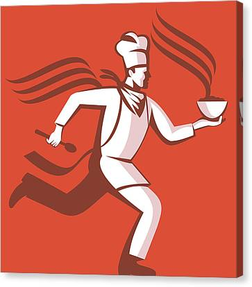 Workers Canvas Print - Chef Cook Baker Running With Soup Bowl by Aloysius Patrimonio