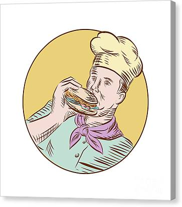 Chef Cook Eating Burger Etching  Canvas Print by Aloysius Patrimonio