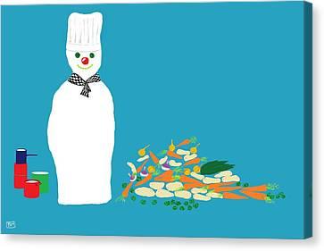 Chef Snowman Canvas Print by Barbara Moignard