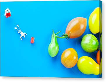 Canvas Print featuring the painting Chef Tumbled In Front Of Colorful Tomatoes II Little People On Food by Paul Ge