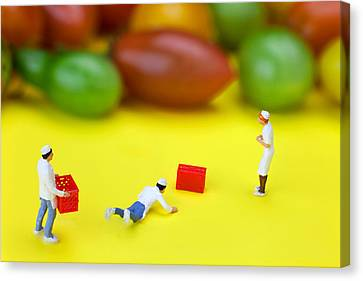Canvas Print featuring the painting Chef Tumbled In Front Of Colorful Tomatoes Little People On Food by Paul Ge