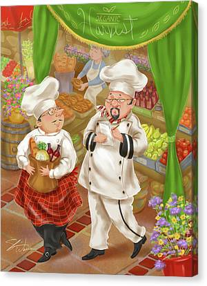Chefs Go To Market IIi Canvas Print by Shari Warren