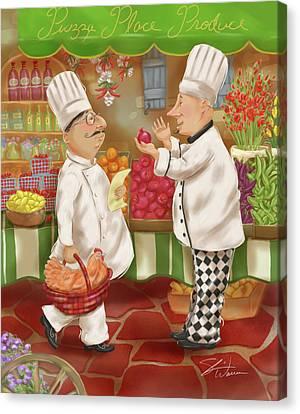 Chefs Go To Market Iv Canvas Print by Shari Warren