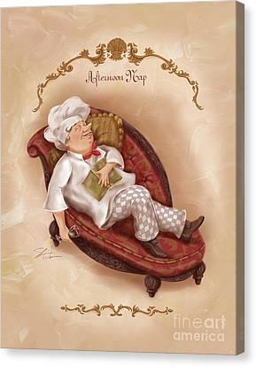 Chefs On A Break-afternoon Nap Canvas Print by Shari Warren
