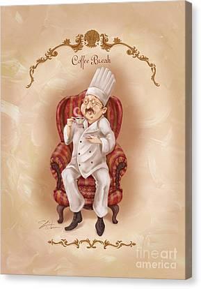 Chefs On A Break-coffee Break Canvas Print by Shari Warren