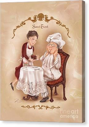Chefs On A Break-sweet Treat Canvas Print by Shari Warren